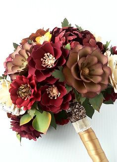 Paper Bouquet - Paper Flower Bouquet - Fall Weddings - Rustic Weddings - Country…