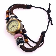 Lady+Dragonfly+Pendant+Beaded+Leather+Bracelet+Watch
