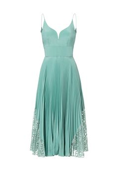 This embellishment on the side is ok! -M  (Rent Mint Pleated Sweetheart Dress by Nicole Miller for $80 only at Rent the Runway.)