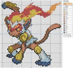 392 - Infernape by Makibird-Stitching Beaded Cross Stitch, Simple Cross Stitch, Cross Stitch Charts, Cross Stitch Designs, Cross Stitch Embroidery, Cross Stitch Patterns, Stitch Games, Pokemon Cross Stitch, Crochet Pokemon