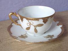 antique tea set, gold tea cup and saucer set, AK Limoges France tea set, gold and white. $49.00, via Etsy.