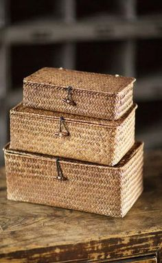 Accent your desk, dresser, or a side table with this natural and appealing trio of Conner Rattan Boxes.