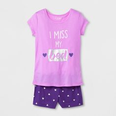 Planet Sleep Girls' 'I Miss My Bed' Graphic 2pc Pajama Set with Shorts - Purple : Target