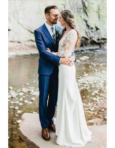 Vintage Illusion Neck Long Tight Chiffon Beach Destination Wedding Dress with Sleeves