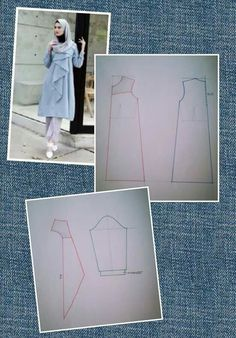 Discover thousands of images about Tunic dress Dress Sewing Patterns, Clothing Patterns, Fashion Sewing, Diy Fashion, Kaftan Pattern, Pattern Dress, Collar Pattern, Pattern Cutting, Mode Hijab