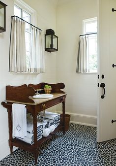 Pool house, Phoebe Howard, Powder Room, Classic, Stone floor, Cafe Curtains, Sconce, Repurposed furniture