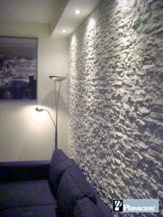 parete mattoni grigio divano - Cerca con Google