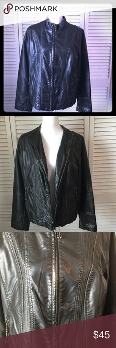 Cato Faux Leather Jacket ⛄️Really cute black, faux leather jacket ⛄️. Zip closure and zip pockets ⛄️🎄 Size L. Like new!! Cato Jackets & Coats