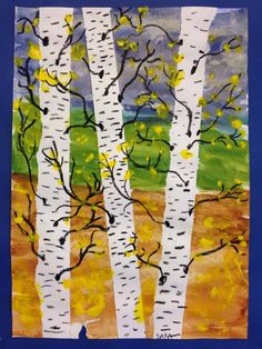 birch trees leaving out Spring Crafts For Kids, Art For Kids, Jr Art, 4th Grade Art, School Art Projects, Spring Art, Middle School Art, Autumn Art, Art Lesson Plans