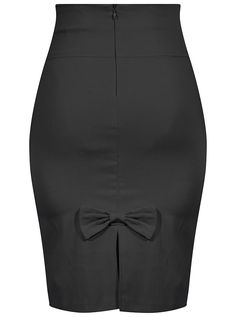 Bow Back Pencil Skirt - Black - Retro Pin Up Stretchy Lifestyle – Double Trouble Apparel High Waisted Pencil Skirt, Pencil Skirt Black, Pencil Skirts, Pencil Dresses, Women's Skirts, Mode Outfits, Skirt Outfits, Business Attire, Work Attire