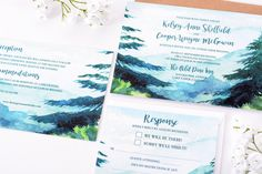 |: A NOTE FROM THE ARTIST :| -----  This beautiful wedding invitation suite features a watercolor mountain scene. This design looks exceptionally fantastic on our SoftCotton paper and Kraft Brown envelopes (shown here.)  ID #wdi-249 BUY THE SAMPLE: https://www.etsy.com/listing/502006129/mountain-vista-sample-rustic-wedding _________________________________________________________________________________________  DEPOSIT LISTING - This is not your total amount. Please...