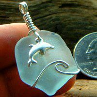 real sea glass jewelry drill bits   Wired Waved Pendants