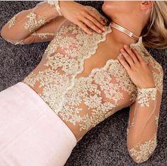 Hello Lace Gold Bodysuit