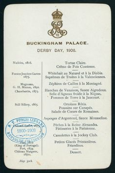 Buckingham Palace menu
