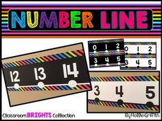 This number line is perfect for any classroom! It includes two versions One with a black background and one with a white background to save on ink! It includes the numbers -100 to 250. This product goes great with my Classroom Brights Decor Collection!