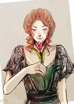 I raided Miss Clare's Pinterest for TLH and saw a pretty green dress and I thought the dress would look good on Cordelia. So I tried drawing her with the dress. I tried– //tears  A reason to do a sketchy sketchy of a freckled red-head wearing a lacy...