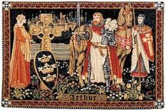 King Arthur Tapestry Medieval Tapestries The bright and colorful Tapestry, King Arthur is filled with the symbolism of Camelot. We see Guinevere on the left offering the shield Prydwen, with three han