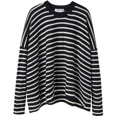 Comme des Garçons Comme des Garçons Striped Knit Pullover ($316) ❤ liked on Polyvore featuring tops, sweaters, shirts, jumpers, knit pullover sweater, black pullover sweater, striped sweater, black crew neck sweater and black shirt