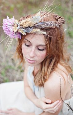 Headwreath. Feathers. Flowers. Love.