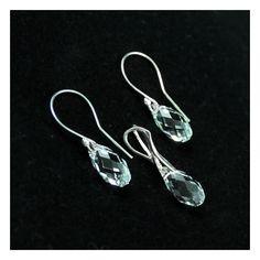 Transparent Swarovski Briolette crystals. Gentle sparkling drops