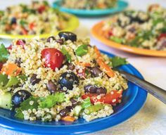 Red Quinoa And Black Bean Vegetable Salad Recipe — Dishmaps