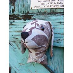 Faux taxidermy  fabric animal head,shabby chic, country house, Dog  trophy head. Ice blue and brown   fabric.