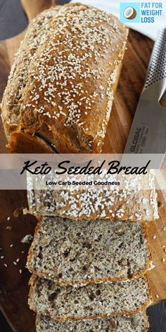 Seeded Bread Recipe - Low Carb Bread With Seeds -Keto Seeded Bread Recipe - Low Carb Bread With Seeds - Gluten-Free Keto Multi Seed Bread - only g of carbs per slice! No Bread Diet, Best Keto Bread, Low Carb Bread, Low Carb Keto, Easy Keto Bread Recipe, Lowest Carb Bread Recipe, Easy Cake Recipes, Bread Recipes, Recipe Breadmaker