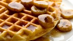Cornmeal Waffles With Banana Bourbon Syrup