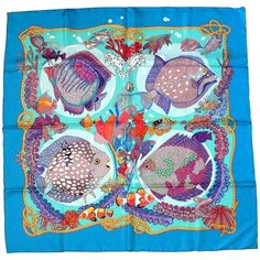 """Hermes Vintage Silk Carre Scarf """"Grands Fonds"""" by Annie Faivre 1992 
