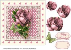 """Pink Vintage Rose and Butterfly on Craftsuprint designed by Mary MacBean - 7"""" x 7"""" card front with a vintage image of a rose and a green butterfly in a pretty frame with lace. There is a Happy Birthday sentiment or a blank tag for your own message making this a versatile card for many occasions. - Now available for download!"""