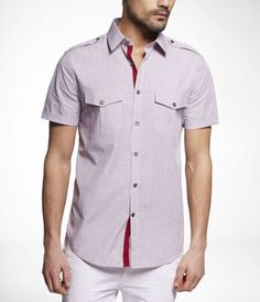 STRIPED FITTED SHORT SLEEVE MILITARY SHIRT at Express