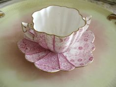 Antique Pre Shelley Wileman Foley Set Pink Cream Soup / Bouillion Cup & Saucer