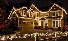 Use Warm White LED Rope Lights To Outline The Edges Of The Home.  #holidaylights