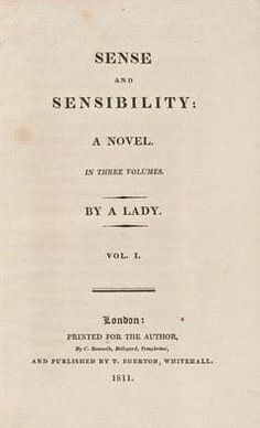 Title page of the first edition of Jane Austen's 'Sense and Sensibility'. It was published on 30 October 1811Google Images