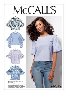 M7542 Semi-fitted tops with sleeve variations, hook & eye closure in back and separate pattern pieces for C and D cups. Cotton blends, poplin, gingham, crepe de chine.