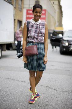 Tamu in Mixed Plaids   Street Fashion   Street Peeper   Global Street Fashion and Street Style