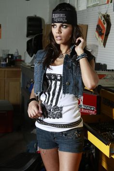 Rebel Girl tanks and denim... what more does a girl need? #womens #bikerfashion