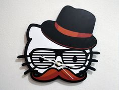 Hipster Kitty - Wall Clock
