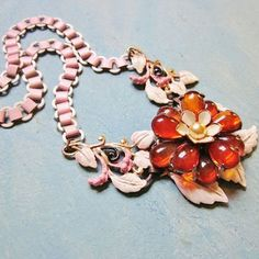 Vintage Statement Necklace Amber Glass Flower Pink Enamel Book Chain 1940s Jewelry