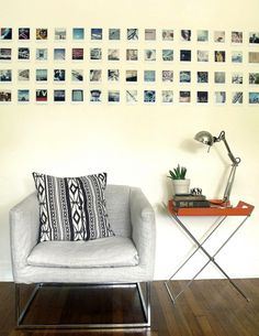 Love the whole wall of cropped polaroids. The rest of their house is amazing, too. (Home of Jamie and Jessica from Ax + Apple- thanks to Design Sponge for featuring them! Polaroid Foto, Polaroid Wall, Polaroid Camera, Polaroids On Wall, Hanging Polaroids, Instax Wall, Hanging Photos, Polaroid Display, Instagram Wall
