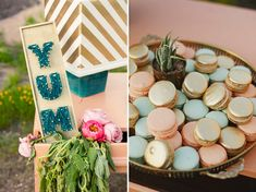 pretty gold, pink and mint macarons with a string art YUM sign