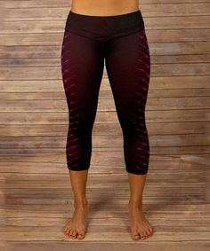 Look at this #zulilyfind! Maroon & Coral V-Stripe Allure Capri Pants by Respect Your Universe #zulilyfinds