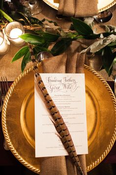Autumn Wedding Inspiration #pheasant #feather #placesetting #autumn #wedding #event #inspiration Photo: {a}strid photography