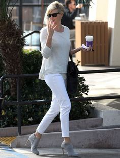 It's always the right time for white jeans.   Follow Charlize Theron's lead and team with neutral tones for easy weekday glamour than can go from boardroom to bar.
