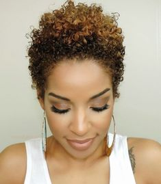 Short Natural Black Hair with Color