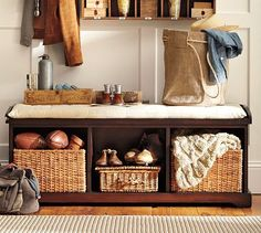 Shop samantha entryway bench from Pottery Barn. Our furniture, home decor and accessories collections feature samantha entryway bench in quality materials and classic styles. Entryway Bench Storage, Bench With Storage, Entry Bench, Entryway Ideas, Shoe Storage, Storage Ideas, Entryway Decor, Storage Solutions, Mudroom Benches