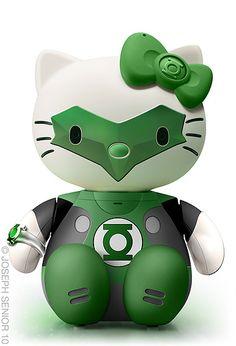 Green Lantern Kitty http://lounge.obviousmag.org/tempos_liquidos/2012/01/as-multifacetadas-hello-kittys-de-joseph-senior.html