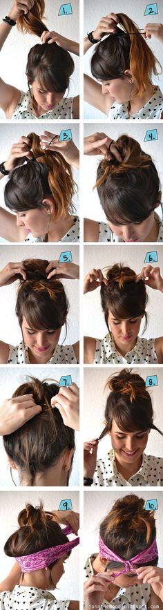 Tuto coiffure, comment mettre le bandana sur la tète , se coiffer avec un foulard en bandana sur la tête avec cheveux longs et courts.