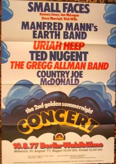 Country Joe Mcdonald, Manfred Mann's Earth Band, Steve Marriott, Queen Poster, Vintage Concert Posters, Classic Rock And Roll, Concert Flyer, Uriah, Old Advertisements