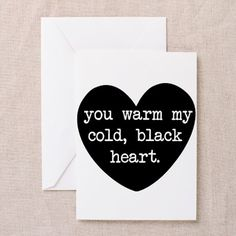 Cold, Black, Heart Greeting Card Cold, Black, Heart Greeting Cards by SunnyDayGifts - CafePress